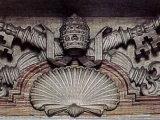 <p>The keys of Peter and the shell, a pagan symbol for the cosmos, on a Roman Catholic crest in St. Peter's Basilica. <br /><br />Copyright Amazing Discoveries.</p>