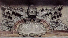 The keys of Peter and the shell, a pagan symbol for the cosmos, on a Roman Catholic crest in St. Peter's Basilica. Copyright Amazing Discoveries.
