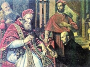 Ignatius of Loyola receiving recognition from Pope Paul III on September 27, 1540, for his Society of Jesus. Public Domain https://commons.wikimedia.org/wiki/File:Paul_iii_and_ignatius_loyola.jpg