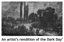 Artist's rendition of the Dark Day from Our First Century by Richard M. Devens (1880).