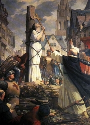 A painting of Joan of Arc burning at stake. Source: Wikimedia Commons Drawn by Jules-Eugène Lenepveu (1819-1898), a French neoclassical artist.
