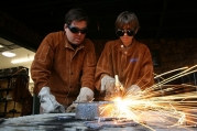 High-school students metalworking. Source: Photo Dudes on Flickr