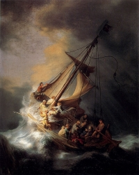 Rembrandt's depiction of the storm Jesus calmed. Public Domain.