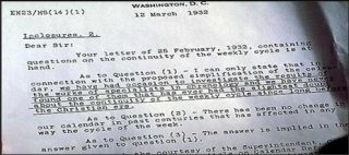 Letter regarding continuity of the weekly cycle, US Naval Observatory (Washington DC: March 12, 1932). Photo source: godssabbathtruth.com.