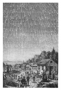 An 1889 rendition of the 1833 meteor shower, Bible Readings for the Home Circle (Chicago: Review and Herald, 1888). Public Domain Chicago: Review and Herald, 1888 https://commons.wikimedia.org/wiki/File:Leonids-1833.jpg