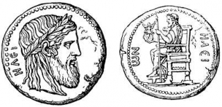 A coin depicting the Olympic Zeus.