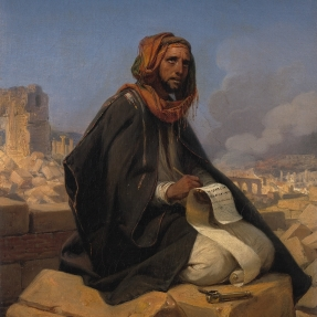 A depiction of the prophet Jeremiah by Horace Vernet Public Domain https://commons.wikimedia.org/wiki/File:SA_160-Jeremia_op_de_puinhopen_van_Jeruzalem.jpg