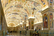 The Vatican library holds more than 1.1 million books, along with coins, art, and other valuable artifacts. CC Sharealike Michal Osmenda https://commons.wikimedia.org/wiki/File:The_Sistine_Hall_of_the_Vatican_Library_(2994335291).jpg