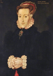 Hans Eworth's portrait of Anne Askew, which has a caption reading