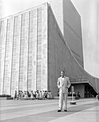 Dag Hammarskjöld outside the UN building.  Watch our ADtv video about the UN and the Occult Agenda.